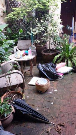Cool Guesthouse: La cour devant les chambres... ou les rats se baladent aussi...
