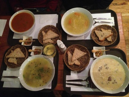 Mr. Soup: Clockwise from top left: goulash, chicken, criolla, vegetarian soups