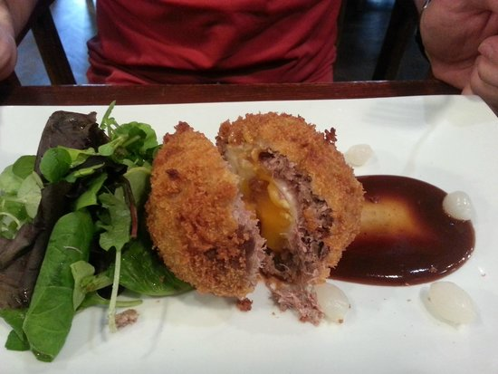 Town Hall Tavern : Pig's Cheek Scotch Egg with Pickled Onions & HP Sauce