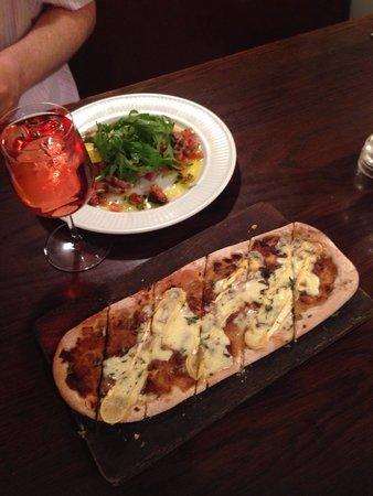 Cote Brasserie - Cambridge : Reblochon Pissaladiere & Tuna Carpaccio