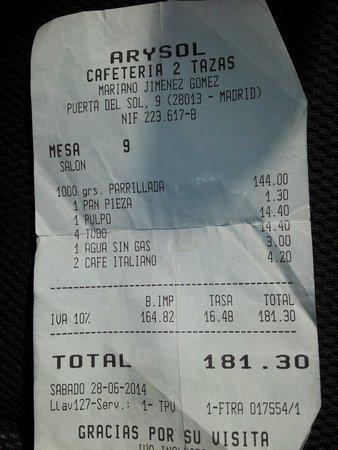 Arysol: Grigliata 144 euro.....