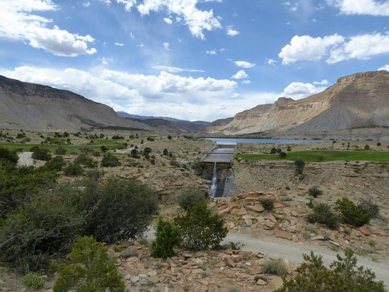 Ferron, UT: Waterfall from reservoir