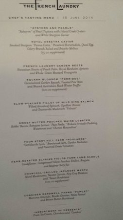 The French Laundry : One of the pages of this day's menu.
