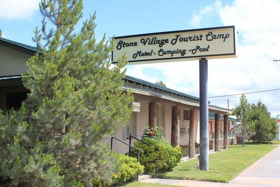The Stone Village Tourist Camp: Restored 1930's era sign