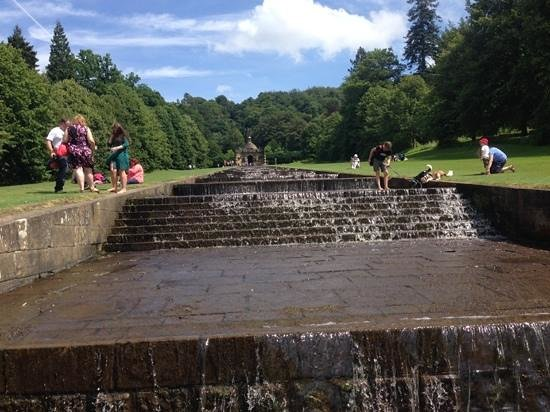 Chatsworth House: Paddling in the waterfalls.