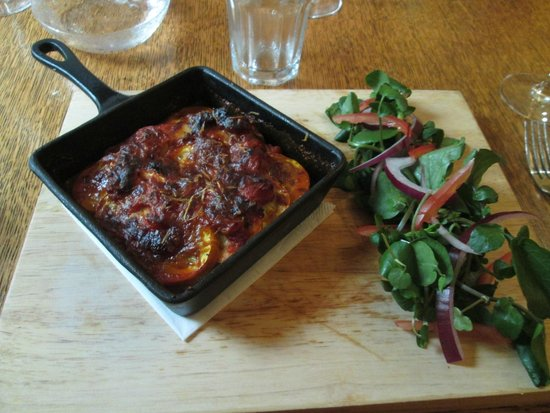 The Running Horse: Courgette parmigiana with salad
