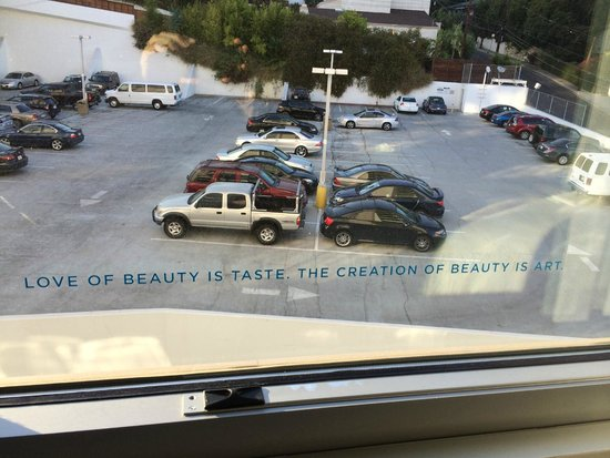 Andaz West Hollywood: view from room and saying on window