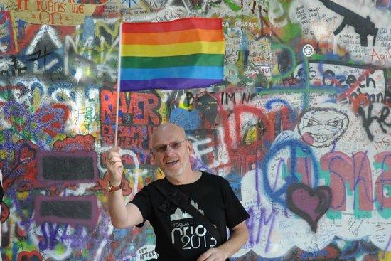 Prague4gay: Flying the Rainbow flag at the John Lennon Wall