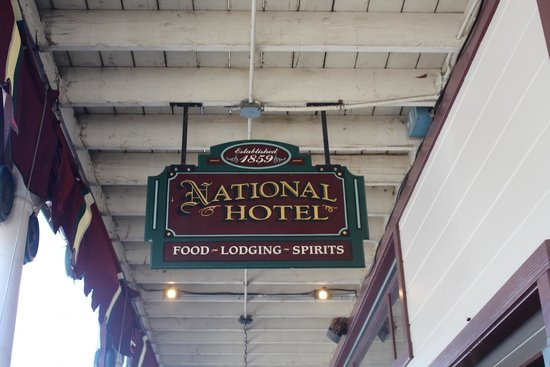 National Hotel & Restaurant: Outside sign.