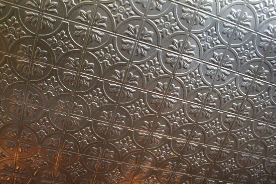 "National Hotel & Restaurant: The original ceiling ""tiles.""  You can see these in many historical pictures on the walls."