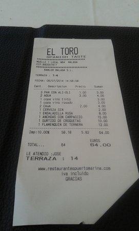 Toro Muelle Uno: cuenta