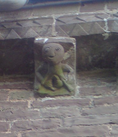 Church of St Mary and St David: Sheela-na-gig (you exhibitionist!).