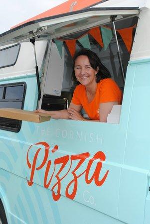 The Cornish Pizza Company van serving fresh hot pizza
