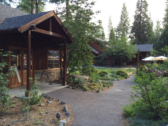 Evergreen Lodge at Yosemite: The Rec Center is on the left with the game room across the yard and some of the dining seating