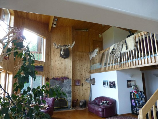 Maria's Majestic View Bed & Breakfast : Fireplace and living room area - (ask Maria about the moose head)