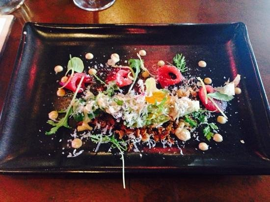 The Test Kitchen: Tuna Sashimi – cos lettuce, miso cured quail egg, toasted garlic and ginger dressing