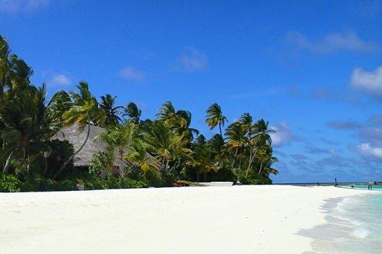 Veligandu Island Resort & Spa : The beach at the main jetty, western part