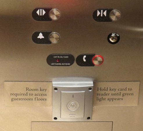 Omni Nashville Hotel: Hold your key card vertical right next to the center of this reader to get elevator to move.