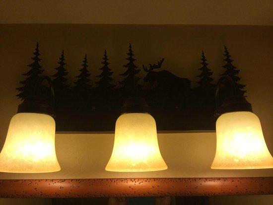 Bear Mountain Inn's Overlook Lodge: Light Fixture in Bathroom