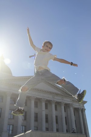 Utah State Capitol: Jumping picture from the side.