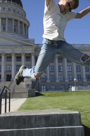 Utah State Capitol: Jumping picture from the front.