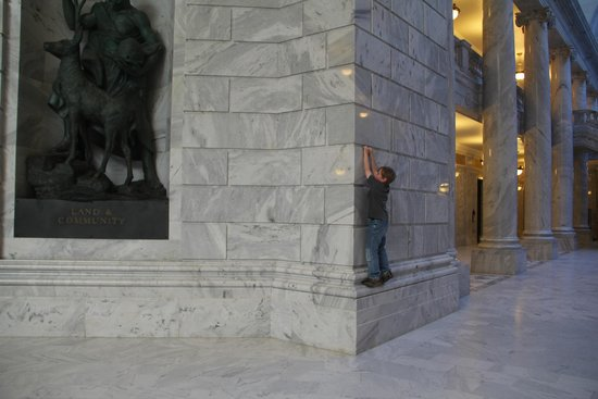 Utah State Capitol : My monkey nephew climbing on the walls inside the building.
