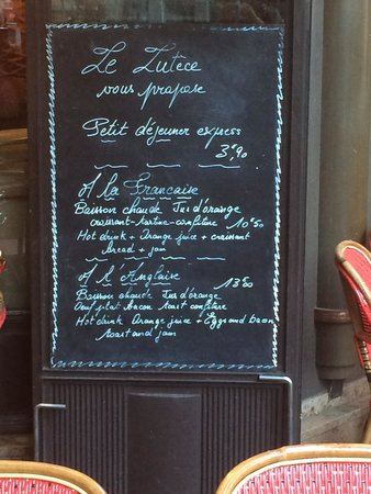 Le Lutece: The menus
