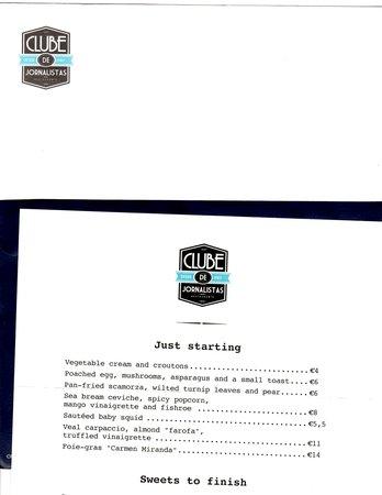 Clube de Jornalistas : Kooky menu-in-an-envelope