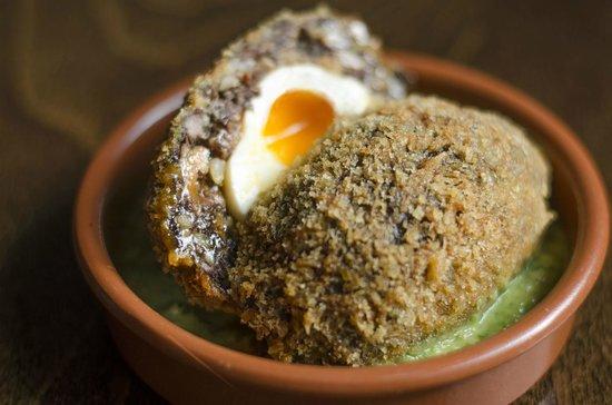 Duke Carvell's: Morcilla Scotch Egg, Mojo Verde