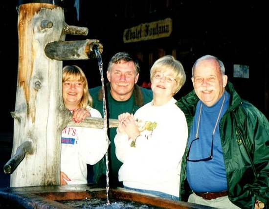 Our gang at the water fountain across from Chalet Fontana.