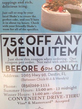 Shake's Custard : Coupon on back of menu