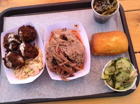 B.T.'s Smokehouse: Cheesy Balls, Brisket, Collard Greens, Cuke Salad