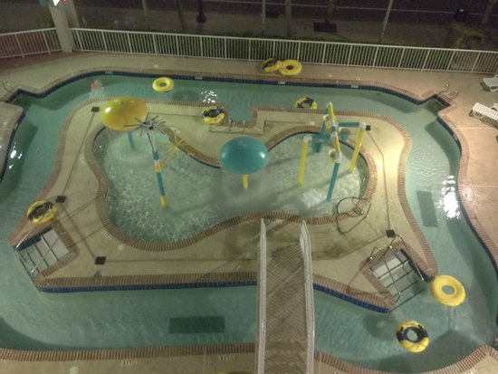 Bermuda Sands Motel: View of the lazy river at night