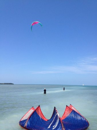 UpWind Kiteboarding, Inc: Kite scene from the boat with Upwind