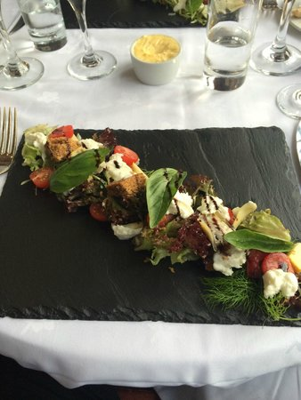 Restaurant at The Mermaid Inn: Starter, eggplant, mozarella, tomato.   Delicious!