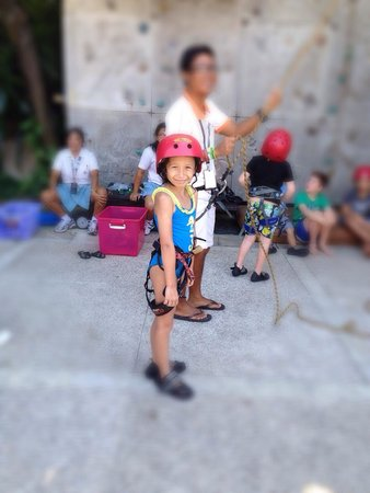 Hard Rock Hotel Bali: My daughter is going to do wall climbing as part of kid's club activities...