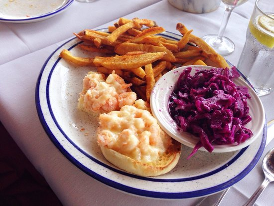 Spirit of San Luis Restaurant : Shrimp on English muffins