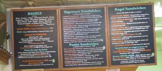 Main Street Bagels Artisian Bakery & Cafe: Big sandwich menu
