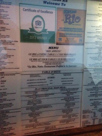 Le Rio Restaurant : Menu