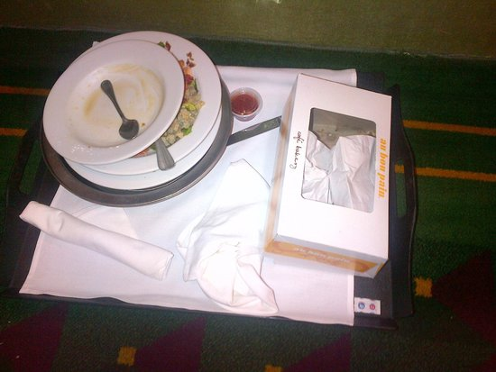 Club Quarters Hotel, Wall Street: This tray of food stayed outside the door of a nearby room for 48 hours.