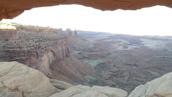 View through Mesa Arch at sunset