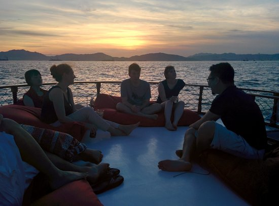 Island Junks: Sunset on the boat