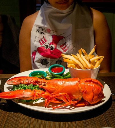 McKelvie's Delishes Fishes Dishes: Got a cute souvenir bib with the 1/2 lb lobster meal