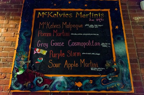 McKelvie's Delishes Fishes Dishes: Even the drinks menu was colourful