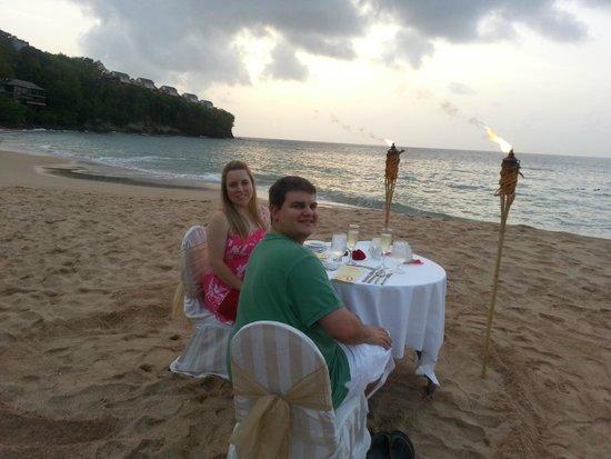 Sandals Regency La Toc: private beach dinner