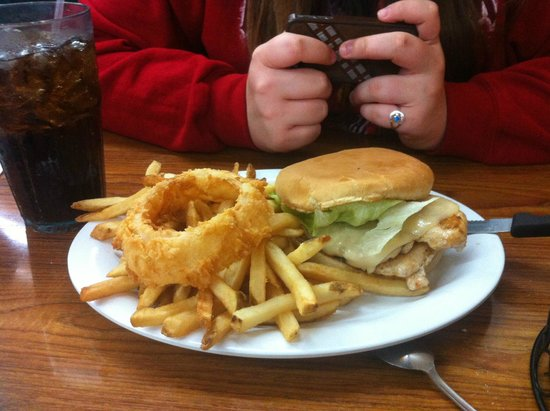 Kelley's Country Cookin': Grilled chicken sandwich with fries and yummy onion ring