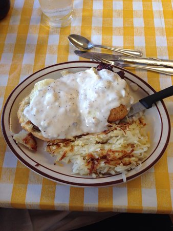 Jimmy's Down the Street: Cowboy eggs Benedict. Sausage was way too salty and overlooked. Gravy was floury...