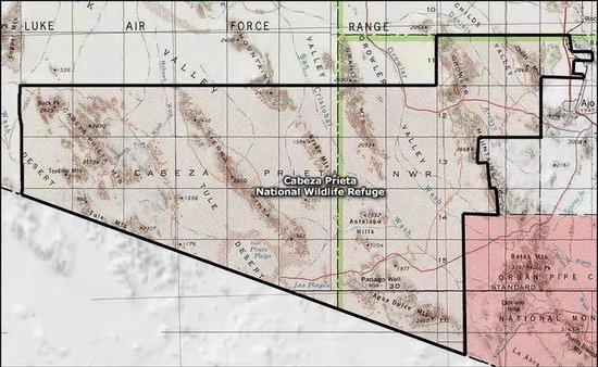 Cabeza Prieta National Wildlife Refuge: Map of Cabeza Prieta FWR