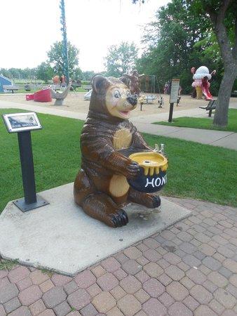 Storybook Land: Bear drinking fountain