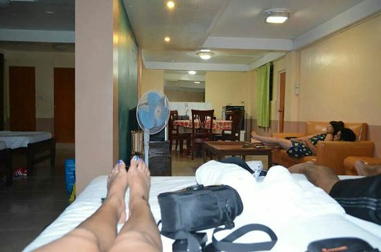 Ati-Atihan Festival Hotel: Our room (good for 6 pax) but in my opinion can be more of 6 persons. Sorry for the feet and the